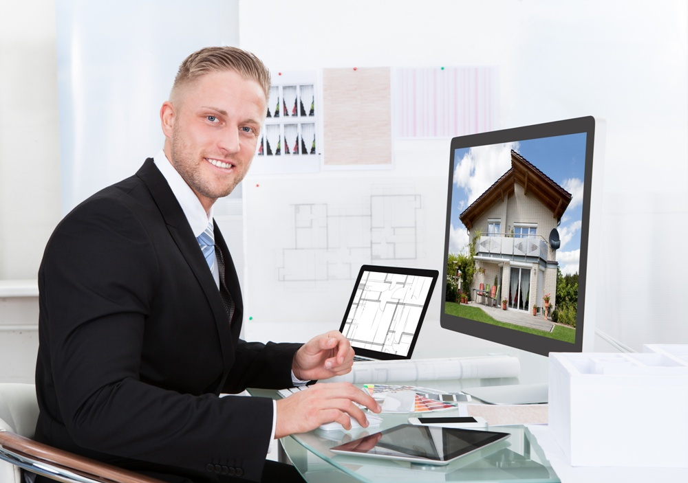 smiling businessman digital marketing